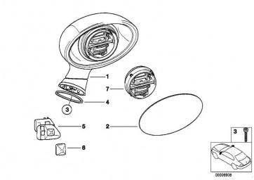 Elektr.Aussenspiegel beheizt R.lackiert CODE - UNI/MET. Z3  (51169070979)