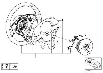 M Sportlenkrad Airbag Leder SCHWARZ/SCHWARZ 5er  (32342282024)