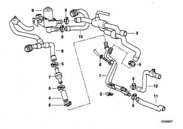 Schlauch Motorvorlauf-Doppelrohr/Pumpe  7er  (64218386348)