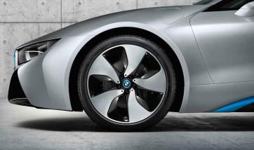 BMW Alufelge Turbinenstyling 444 bicolor (schwarz / glanzgedreht) 7J x 20 ET 36 Vorderachse (linke Fahrzeugseite) i8