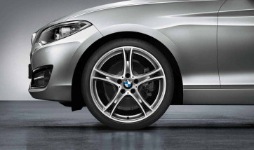 BMW Alufelge Doppelspeiche 361 bicolor (ferricgrey / glanzgedreht) 7,5J x 19 ET 45 Vorderachse 1er F20 F21 2er F22 F23