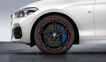 BMW Alufelge Doppelspeiche 361 bicolor (schwarz mit rotem Felgenring) 8J x 19 ET 52 Hinterachse 1er F20 F21 2er F22 F23