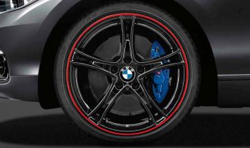 BMW Alufelge Doppelspeiche 361 bicolor (schwarz mit rotem Felgenring) 8,5J x 20 ET 47 Hinterachse 3er F30 F31 4er F32 F33 F36