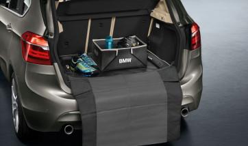 BMW Gepäckraumformmatte Modern schwarz mit beigem Rand 2er F45 ActiveTourer mit verschiebbarer Rückbank