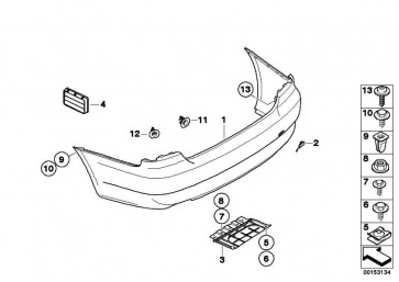 Verkleidung Stossfänger lackiert hinten CODE - UNI/MET. 3er  (51110038428)
