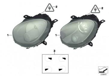 Scheinwerfer rechts, Blinker weiss  MINI  (63129801032)