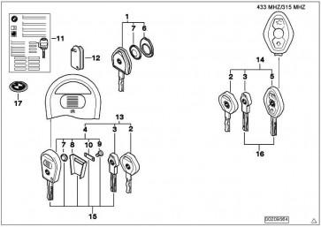 Generalschlüssel mit Fernbet. (Code) 433 MHZ 3er X3 X5 Z4  (66126955749)