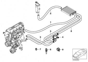 Schlauch Motorvorlauf-Wasserventil  3er  (64218377783)
