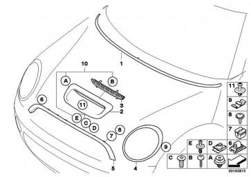Lufteinlass Frontklappe grundiert  MINI  (51132757694)