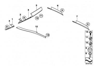 Holzleiste I-Tafel Bambus rechts DUNKEL          X5 X6  (51456970155)