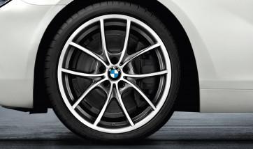BMW Alufelge V-Speiche 356 bicolor (ferricgrey / glanzgedreht) 9J x 20 ET 44 Hinterachse 5er F10 F11 6er F06 F12 F13