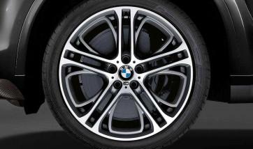 BMW Alufelge M Doppelspeiche 310 bicolor (ferricgrey / glanzgedreht) 11,5J x 21 ET 38 Hinterachse X5 E70 X6 E71 E72