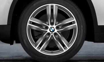 BMW Winterkompletträder M Doppelspeiche 570 bicolor (ferricgrey / glanzgedreht) 18 Zoll X1 F48 X2 F39 RDCi
