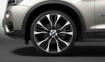 BMW Kompletträder M Doppelspeiche 599 bicolor (orbitgrey / glanzgedreht) 21 Zoll X5 F15 X6 F16 (Mischbereifung)
