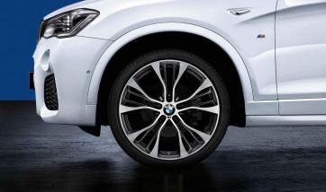 BMW Kompletträder M Doppelspeiche 599 bicolor (jet black matt / glanzgedreht) 21 Zoll X3 F25 X4 F26 RDC LC (Mischbereifung)