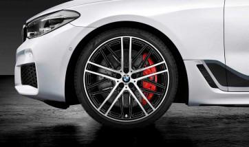BMW Kompletträder M Doppelspeiche 650 bicolor (jet black uni / glanzgedreht) 21 Zoll 6er G32 7er G11 G12 RDCi (Mischbereifung)