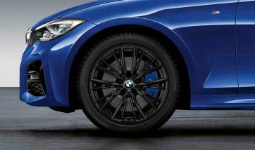 BMW Winterkompletträder M Performance Doppelspeiche 796 schwarz matt 18 Zoll 3er G20 G21 RDCi (Mischbereifung)