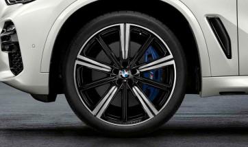 BMW Kompletträder M Performance Sternspeiche 749 bicolor (jet black uni / glanzgedreht) 22 Zoll X5 G05 X6 G06 RDCi (Mischbereifung)