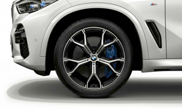 BMW Kompletträder M Y-Speiche 741 bicolor (orbitgrey / glanzgedreht) 21 Zoll X5 G05 X6 G06 RDCi (Mischbereifung)