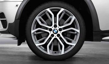 BMW Kompletträder Performance Y-Speiche 375 bicolor (ferricgrey / glanzgedreht) 21 Zoll X5 F15 X6 F16 RDCi (Mischbereifung)