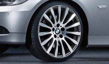 BMW Alufelge Radialspeiche 190 bicolor (schwarz / glanzgedreht) 9J x 19 ET 39 Hinterachse 3er E90 E91 E92 E93