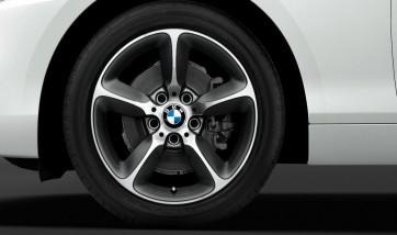BMW Alufelge Sternspeiche 382 bicolor (spacegrau / glanzgedreht) 8J x 17 ET 53 Hinterachse 1er F20 F21 2er F22 F23