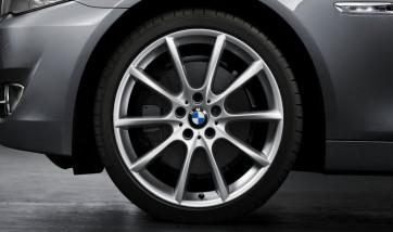 BMW Alufelge V-Speiche 281 silber 9J x 20 ET 44 Hinterachse 5er F10 F11 6er F06 F12 F13
