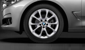 BMW Alufelge V-Speiche 398 silber 8,5J x 18 ET 47 Hinterachse 3er F30 F31 4er F32 F33 F36