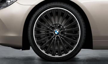 BMW Kompletträder Vielspeiche 410 bicolor (jet black uni / glanzgedreht) 20 Zoll 5er F10 F11 6er F06 F12 F13 RDC LC (Mischbereifung)