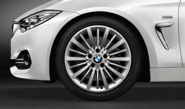 BMW Alufelge Vielspeiche 416 bicolor (silber / glanzgedreht) 8J x 18 ET 34 Vorderachse / Hinterachse 3er F30 F31 F34 4er F32 F33 F36