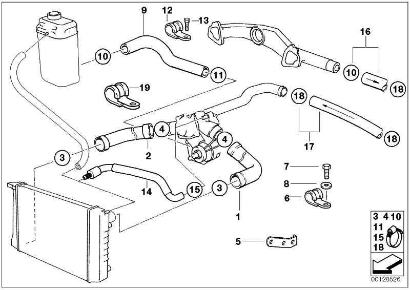 Schlauch Heizkörper-Motorrücklauf  7er  (64218390354)