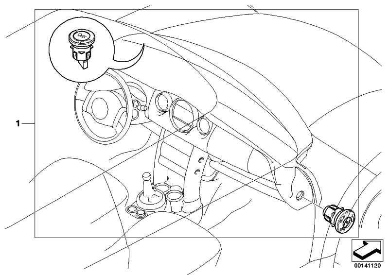 Schalter Deaktivierung Beifahrerairbag  1er 3er 5er 6er 7er X1 X3 X5 X6 Z4 MINI  (61319196886)