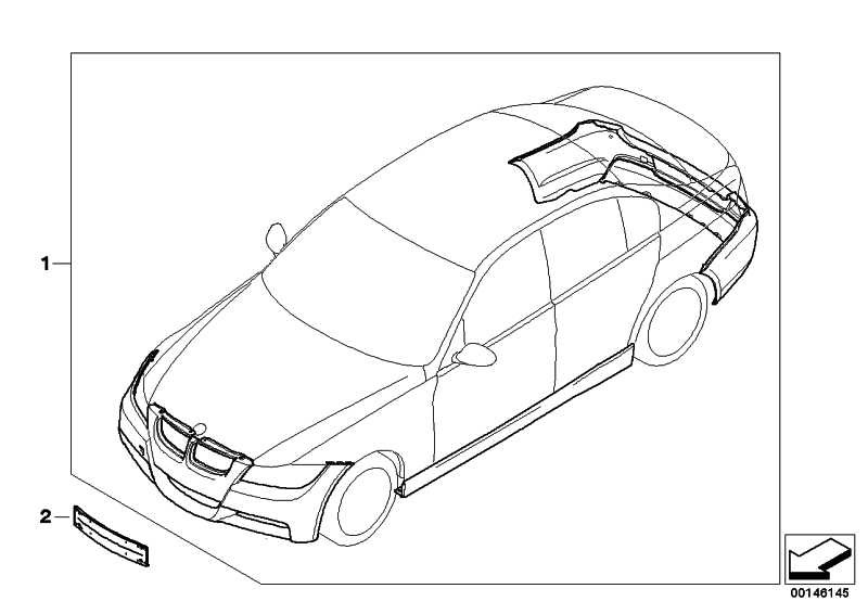 Nachrüstsatz M Aerodynamikpaket GRUNDIERT       3er  (51952147165)