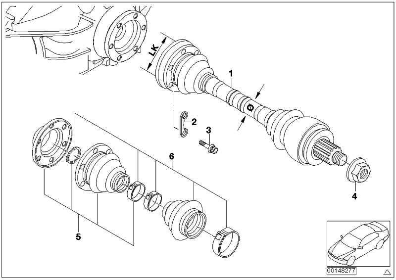 Austausch Abtriebswelle links LK=86MM/D=25MM  1er 3er  (33217547075)
