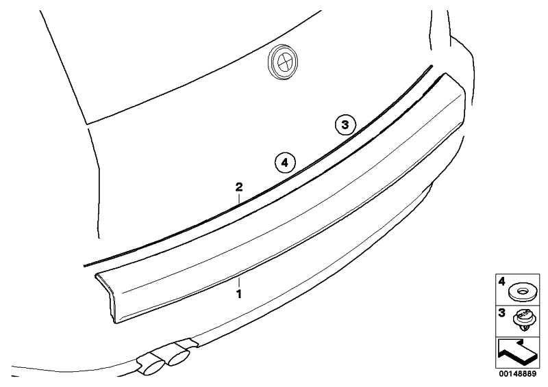 Blende Heckklappe lackiert CODE - UNI/MET. X3  (51110403511)