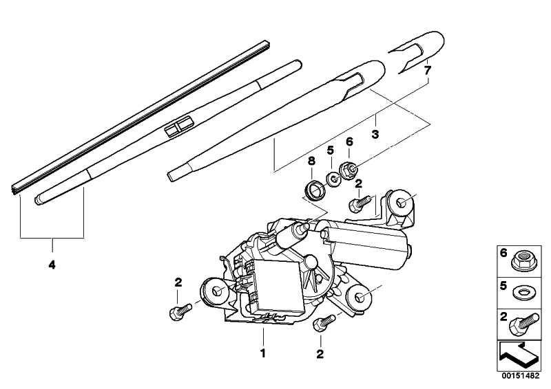 Wischermotor Heckscheibe  X3  (67636917907)