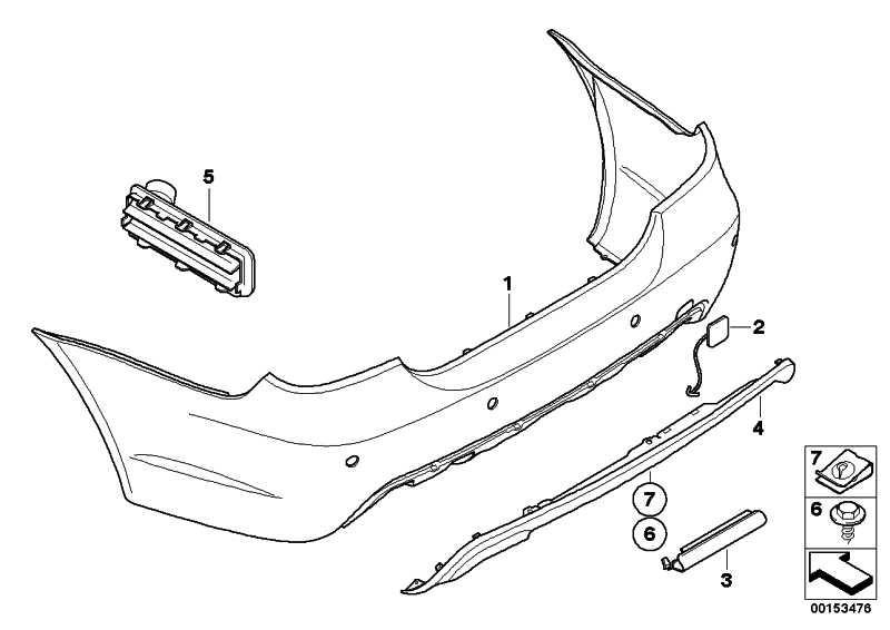 Verkleidung Stossfänger lackiert hinten CODE - UNI/MET. 5er  (51110394707)