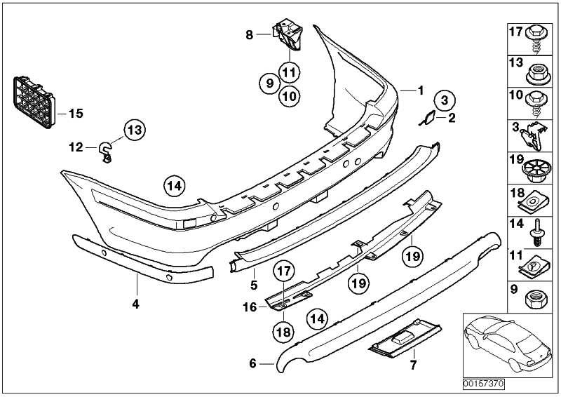 Verkleidung Stossfänger lackiert hinten CODE - UNI/MET. 3er  (51120136484)