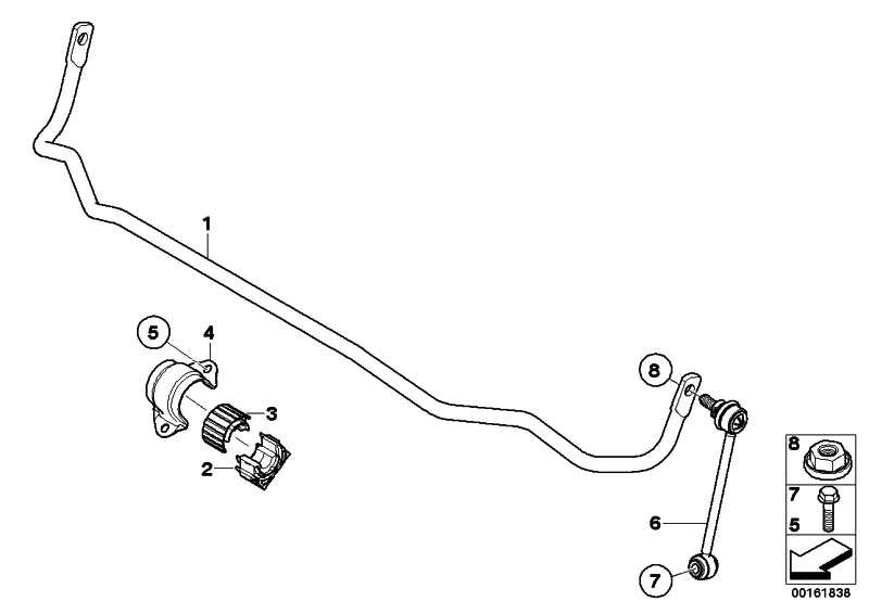 Stabilisator hinten D=22,5MM        1er  (33557845522)