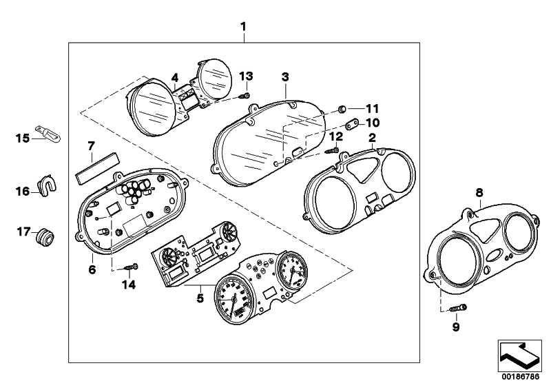 Tacho/Drehzahlmesser und Leiterplatte KM/H             (62117650277)