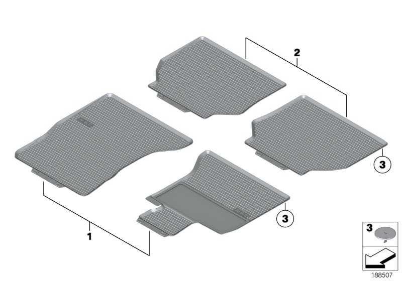 Fussmatten Gummi V.BEIGE LL/ROW 5er  (51472152362)