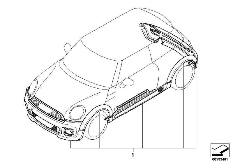 Aerodynamikpaket grundiert PDC MINI  (51192149923)