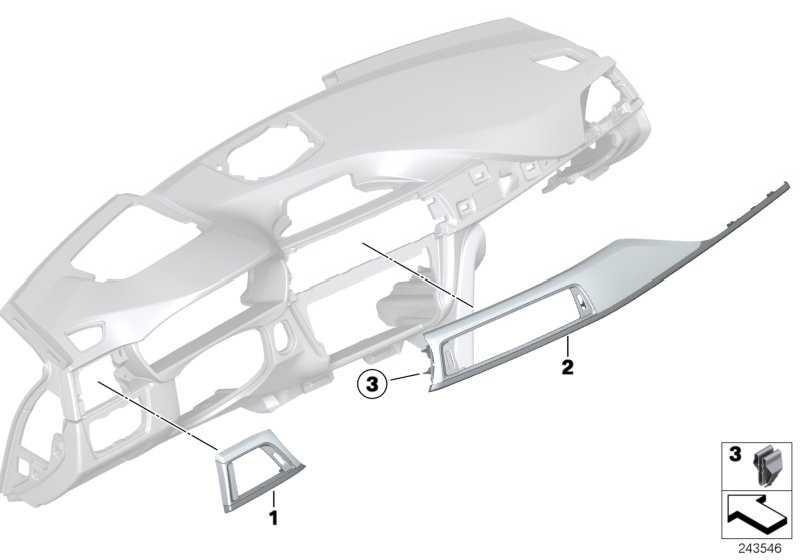 Blende I-Tafel Aluminium links MILCHGLAS       3er  (51459231223)