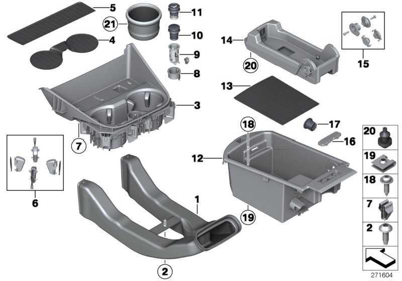Ablagefach Armauflage vorn Mitte  X3 X4  (51169233362)