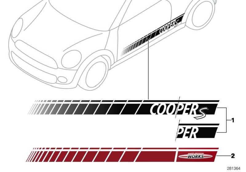 Seitenstreifen silber COOPER/COOPER S MINI  (51142232622)