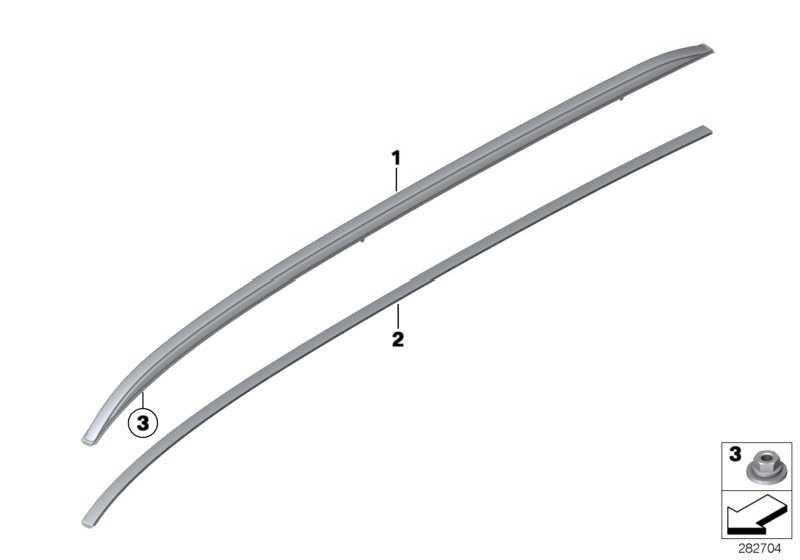 Dachreling links SCHWARZ         3er  (51137316519)