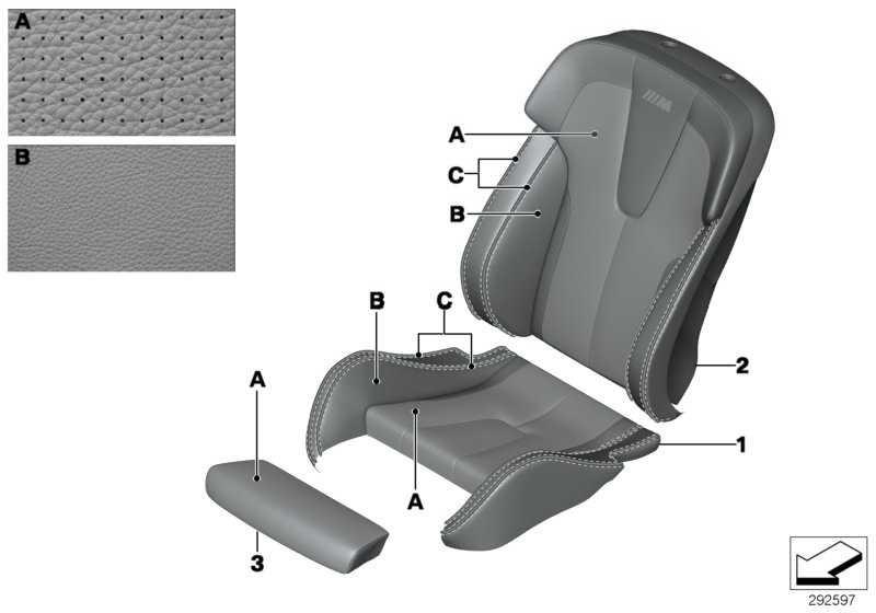 Bezug Sitz M Multifunktionssitz rechts INDI.KLIMALEDER 6er  (52107982540)