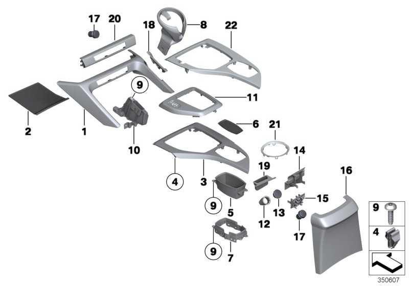 Blende Mittelkonsole hinten SCHWARZ         X1  (51162991906)