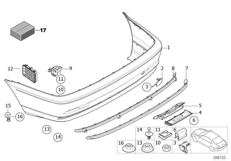 Verkleidung Stossfänger lackiert hinten CODE - UNI/MET. 3er  (51120000696)