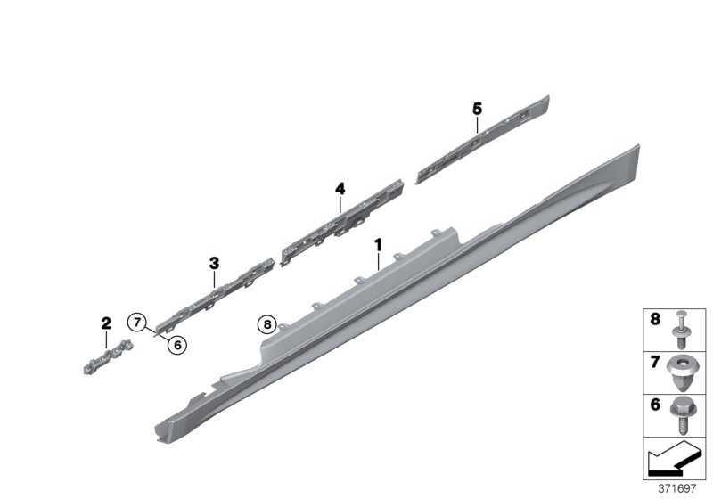 Schwellerverkleidung grundiert rechts M-PAKET 4er  (51778060848)
